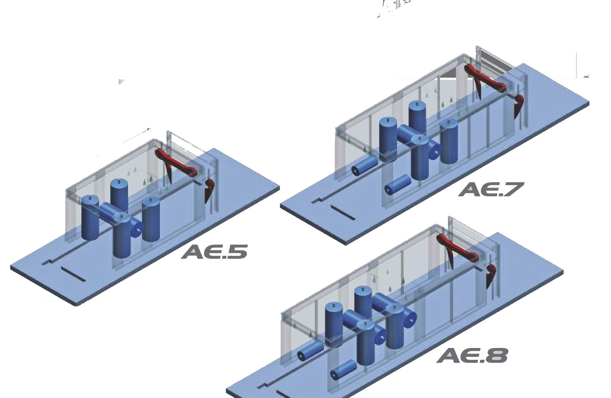 Schematy myjni tunelowych: AE.5, AE.7, AE.8